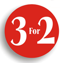Promotional Label  - 3 FOR 2  - 38mm Circle  Labels
