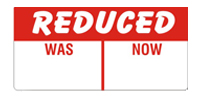 REDUCED WAS/NOW Promotional Labels 50x25mm
